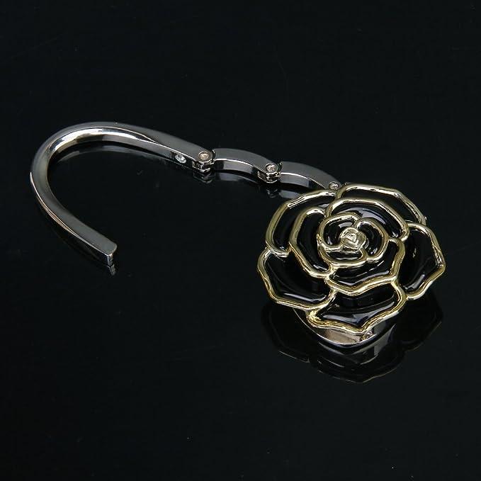 R Crochet Support de Sac a Main Pliant Durable en Forme de Fleur de Rose Noir TOOGOO