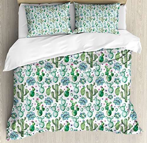 Painted Bed Set Hand (Ambesonne Cactus Decor Duvet Cover Set Queen Size, Hand Painted Exotic Plant Collection Saguaro Prickly Pear Succulents Spines, Decorative 3 Piece Bedding Set with 2 Pillow Shams, Multicolor)