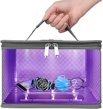 etc Suitable for iPad Smartphone Baby Bottles Brushtooth Money Glasses with 12 LED Sterilization Efficiency 99/% UV Light Sterilizer Box UVC Disinfection Bag Large Clean Lamp Cabinet