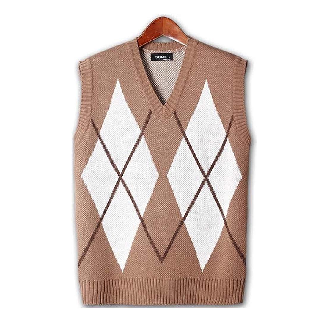 Mens Premium X Diamond V Neck Button Knit Cardigan Sweater Jumper
