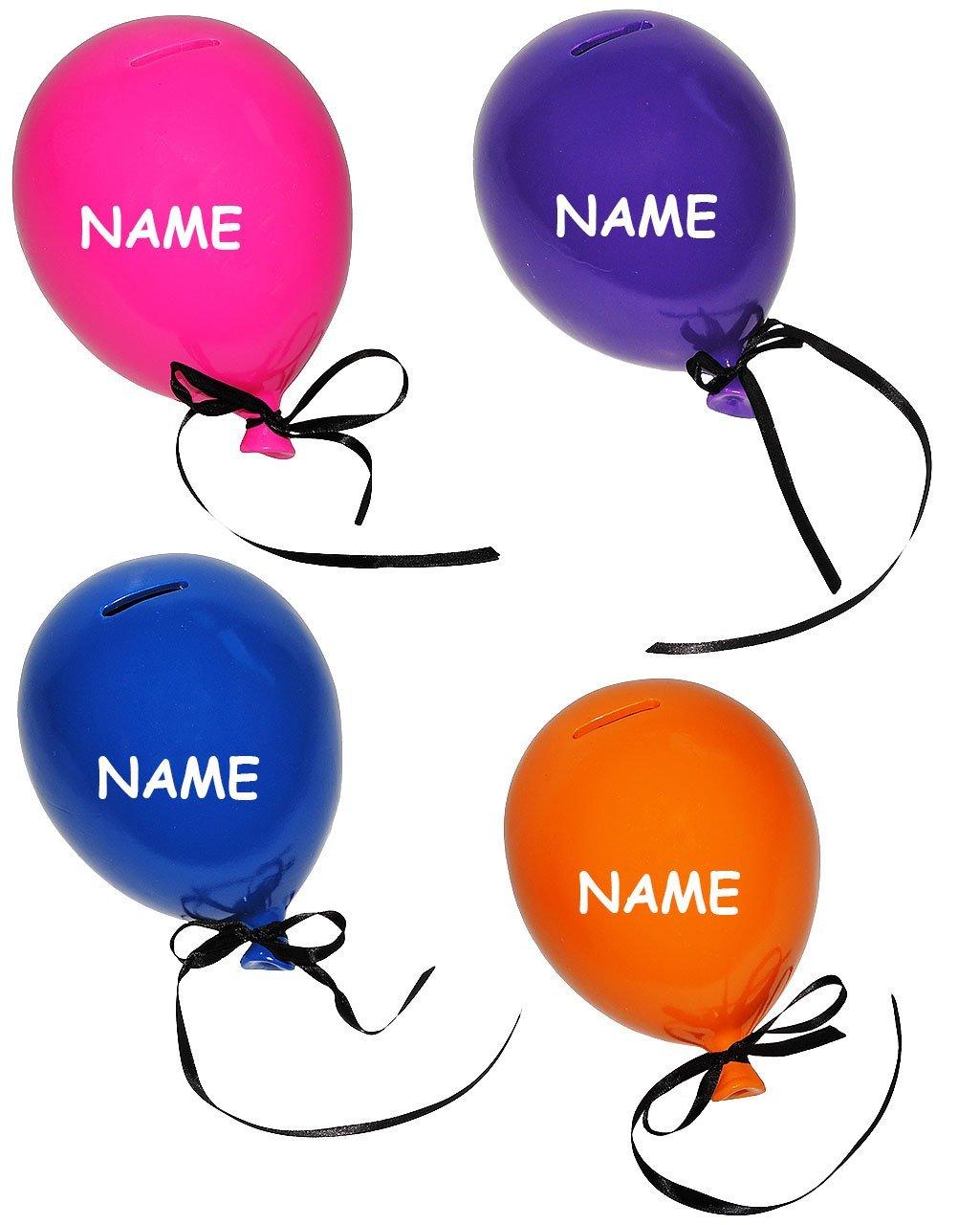 Unbekannt 4 TLG. Set  XL Spardose - bunter Luftballonn - incl. Namen - stabile Sparbüchse - aus Porzellan   Keramik - Sparschwein lustig witzig orange   lila   rosa   b..