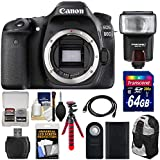 Canon EOS 80D Wi-Fi Digital SLR Camera Body with 64GB Card + Battery + Backpack + Flash + Flex Tripod + Kit