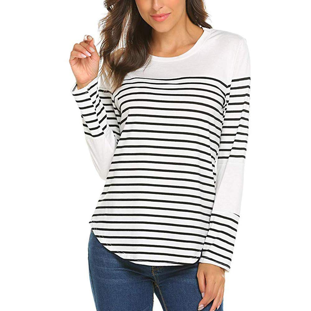 Kemilove Fashion Women Autumn Long Sleeve O Neck Striped Patchwork Pullover Tshirt Tops Blouse tees Sale