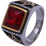 Double Rainbow Jewelry Men's Stainless Steel Onyx Red Ruby Masonic Mason Ring Size 8 9 10 11 12 13