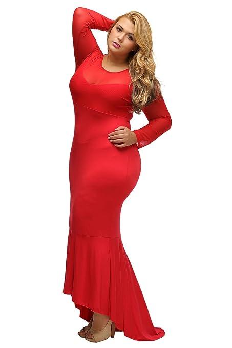 Loveours Große Größen Lange Ärmel Netz Splicing Kleid Partykleider Cocktail  Maxikleid: Amazon.de: Bekleidung