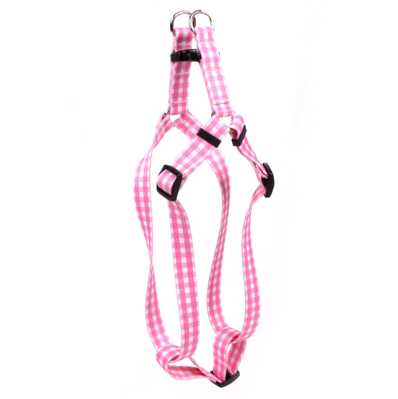 Yellow Dog Design Gingham Pink Step-In Dog Harness 1'' Wide And Fits Chest Circumference Of 25 To 40'', Large