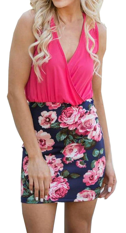 XQS Women's Tunic Slim Fit Bodycon Sexy Elegant Party Dress