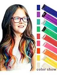 Rhyme CCW 9PCS Wig Pieces America Girls Dolls Clip in/On Colored Hair Extensions(