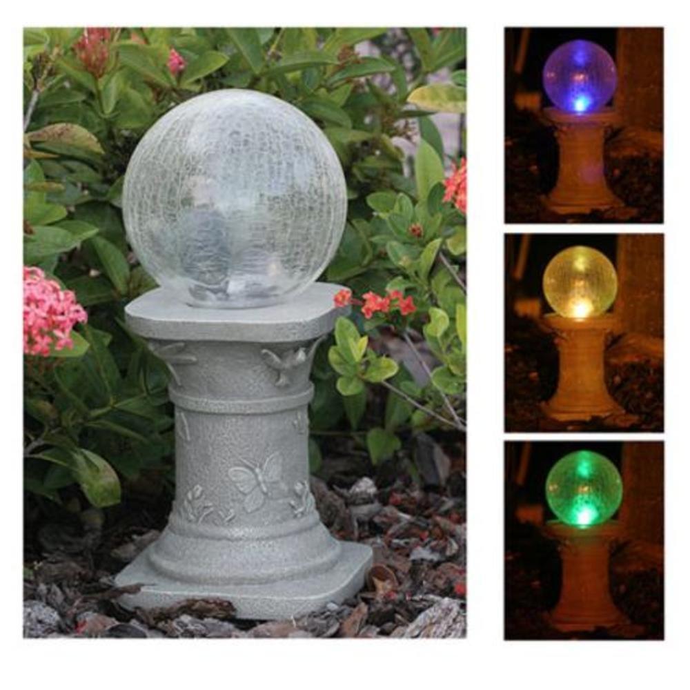 Crackle Glass Solar Gazing Ball Pedestal Stand