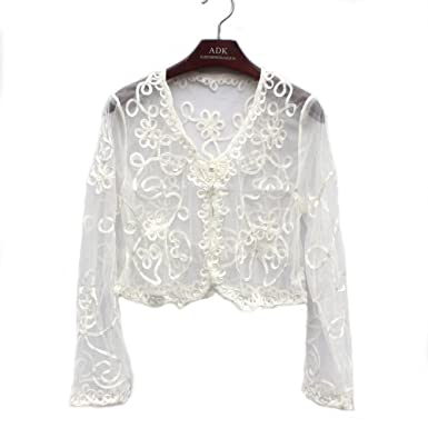 9ae48d1ee76 Women's Ladies Girls Long Sleeved Lace Mesh Gauze Crochet Knitted Cropped  Crop Bolero Shrug Waistcoat Cardigan ...