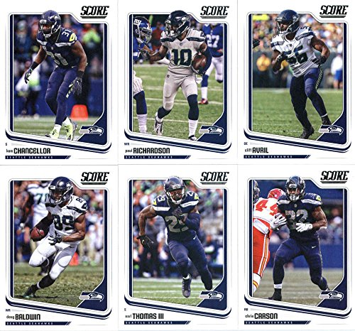(2018 Score Seattle Seahawks Veteran Team Set of 11 Cards: Russell Wilson(#290), Richard Sherman(#291), Michael Bennett(#292), Tyler Lockett(#293), Jimmy Graham(#294), Doug Baldwin(#295), Earl Thomas III(#296), Chris Carson(#297), Kam Chancellor(#298), Paul Richardson(#299), Cliff Avril(#300))