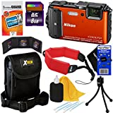 Nikon COOLPIX AW130 16.0 MP Waterproof, Shockproof and Freezeproof Digital Camera with Built-in GPS & Wi-Fi, Orange (Import) + 8pc Bundle 8GB Accessory Kit w/ HeroFiber® Ultra Gentle Cleaning Cloth