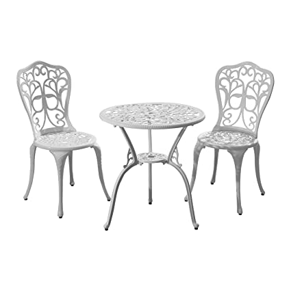 Amazon.com : Outsunny 3pc All-Weather Bistro Outdoor Table and Chair ...