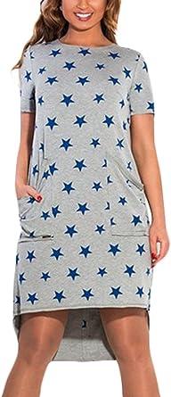 Mujer Vestido De Camisa Fashion Impresión Star Patrón Vestidos Cortos Verano Basic Arm Cuello Redondo Irregular Asimetricos Vestido De Verano Vestidos De Camisa Con Bolsillos Ropa: Amazon.es: Ropa y accesorios