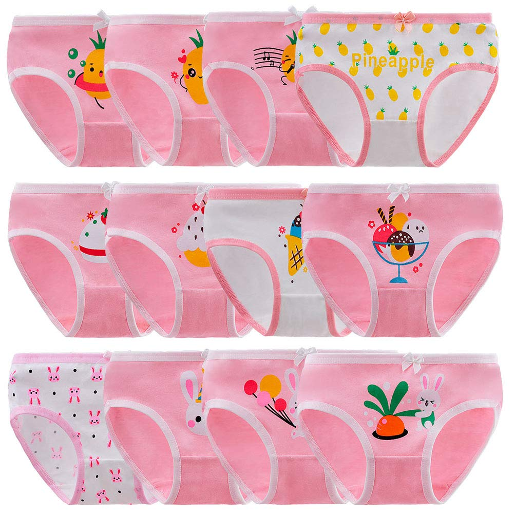 Anntry Baby 6-12 Pack Panties Soft Comfort Knickers Cotton Underwear Little Girls Assorted Briefs 2-10 Yrs