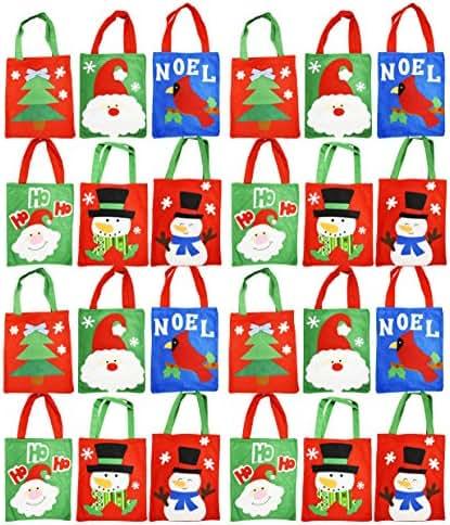 Set of 24 Felt Christmas Gift Bags! 6 Assorted Designs! 10