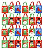 Set of 24 Felt Christmas Gift Bags! 6 Assorted Designs! 10'' x 8'' - Felt Christmas Gift Bags Perfect for Christmas Parties, Party Favors, Gift Giving, and More! (24)