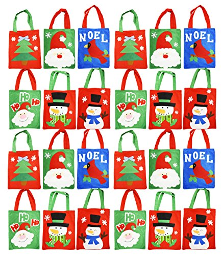 Set of 24 Felt Christmas Gift Bags! 6 Assorted Designs! 10'' x 8'' - Felt Christmas Gift Bags Perfect for Christmas Parties, Party Favors, Gift Giving, and More! (24) by Black Duck Brand
