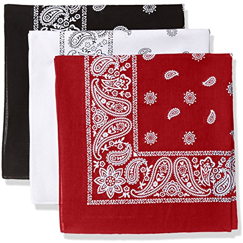 Levi's 3 Pack Printed Bandana Set-Black/White/Red, One Size