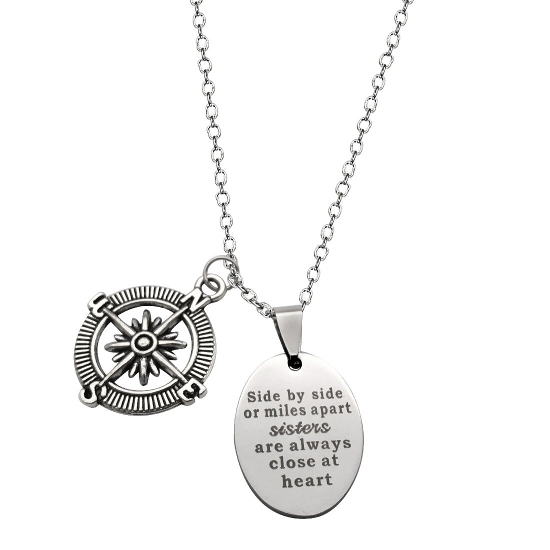 JJTZX Side by Side or Miles Apart Bracelet&Necklace Best Friends Charm Wire Bangle Long Distance Friendship Gifts (Side by Side Compass Necklace)