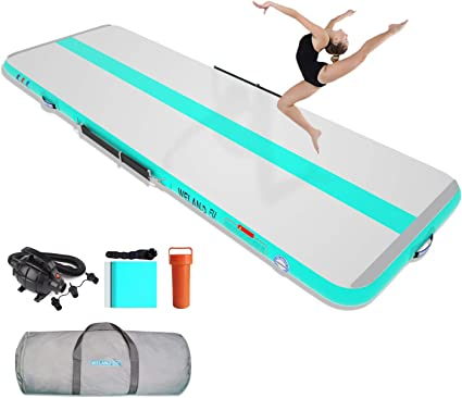HIJOFUN Premium Air Track 10ft 13ft 16ft 20ft Airtrack Gymnastics Tumbling Mat Inflatable Tumble Track with Electric Air Pump for Home Use//Gym//Yoga//Training//Cheerleading//Outdoor//Beach//Park