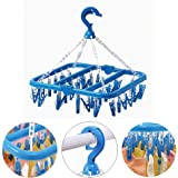 SteelFever Foldable Clip and Drip Hanger with 32 Clips - Hanging Drying Rack