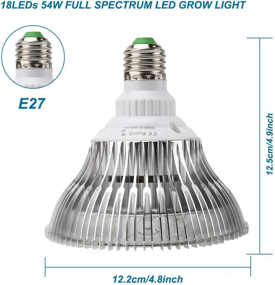 Derlights Led Grow Light Bulb Full Spectrum Plant Growth Lamp 54w E27 With Growing Light Blue Red And Ir Uv Led For Indoor Gardening Hydroponics