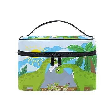 bd7eb425a704 Amazon.com : Cutexl Cosmetic Bag Cute Tropical Sun Animal Dinosaur ...