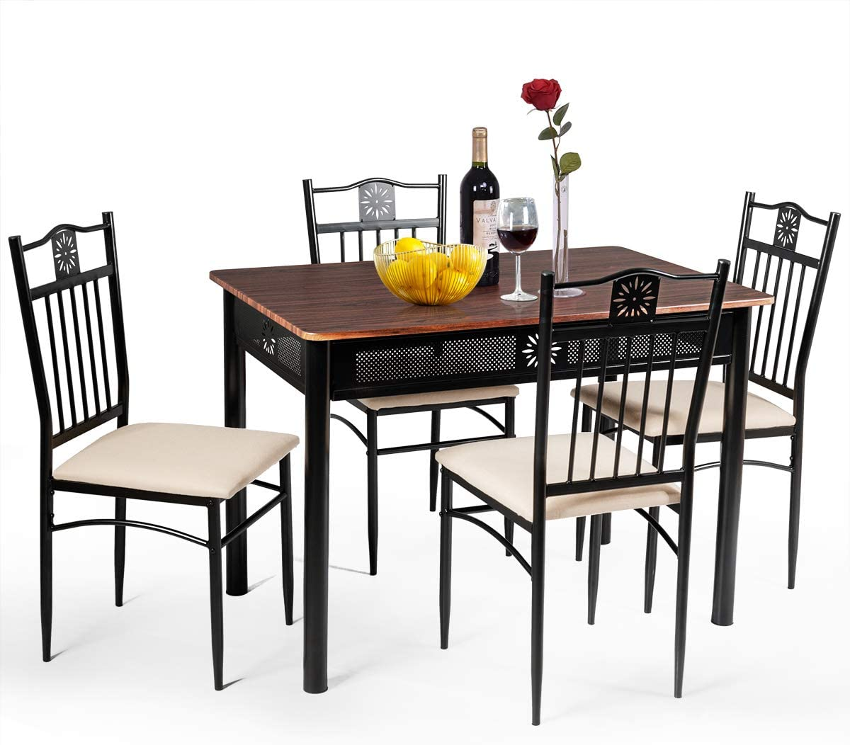 Tangkula 5 Pieces Dining Table and Chairs Set, Vintage Retro Wood Top Metal Frame Padded Seat Dining Table Set Home Kitchen Dining Room Furniture Brown