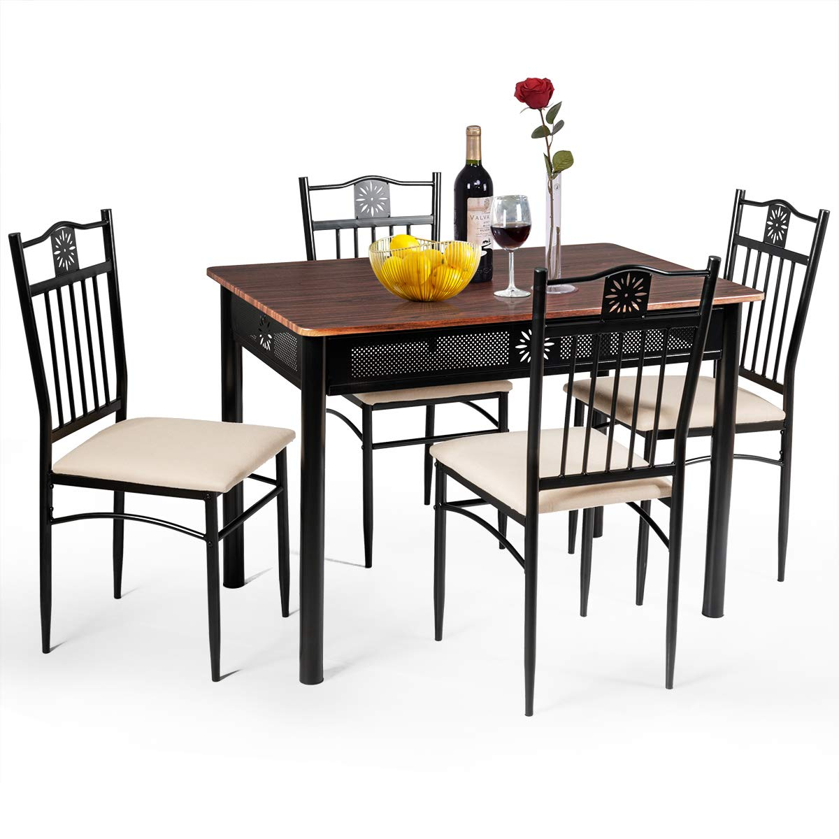 Tangkula 5 Pieces Dining Table and Chairs Set, Vintage Retro Wood Top Metal Frame Padded Seat Dining Table Set Home Kitchen Dining Room Furniture (Brown) by Tangkula