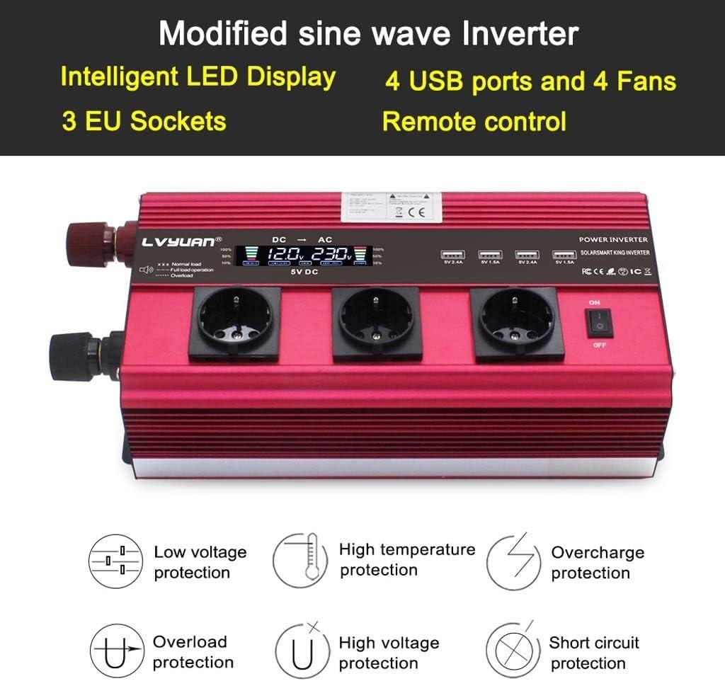 12000W Power Inverter DC 12V to AC 220V 230V Converter Supply Solar Power 4 USB 4 Fan with Remote Control Color : 12V, Size : 5000W