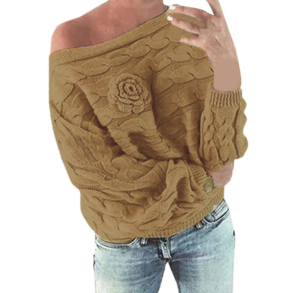 PERFURM Sweater Women New Multicolor Striple Flower Blouse Off-The-Shoulder Casual Sexy Party Knitwear Shirt Top