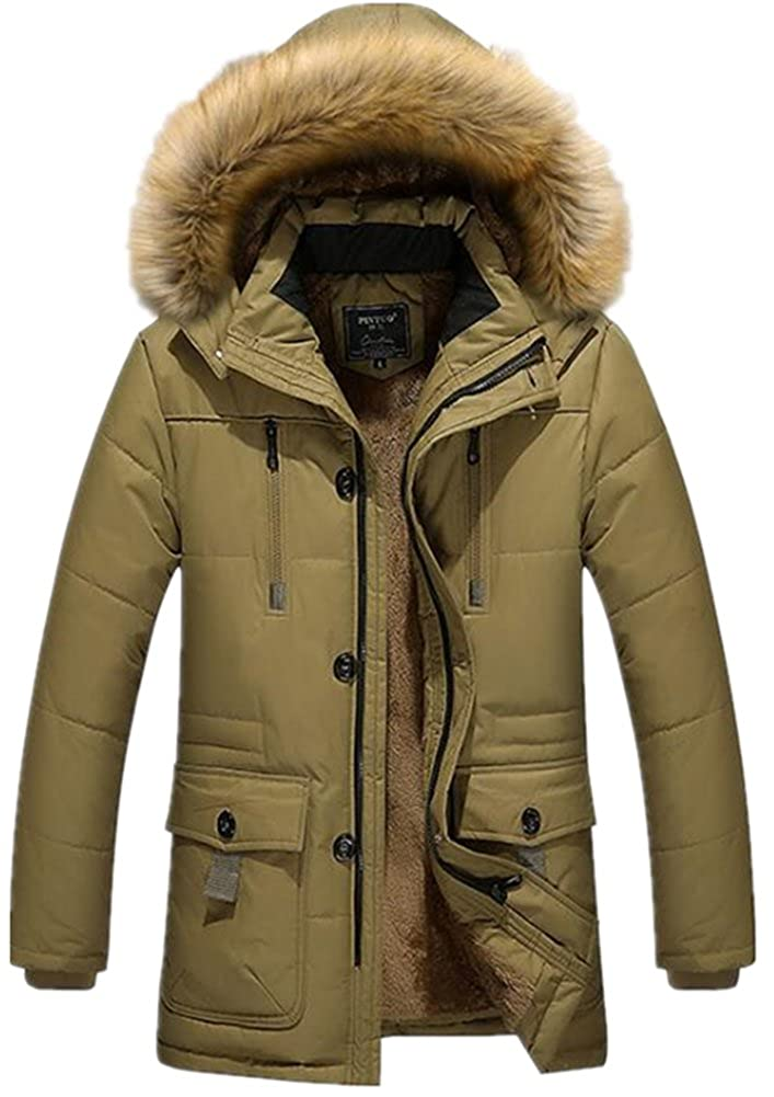 JACKDAINE Mens Faux Fur Solid Color Thickening Warm Cotton Puffer Down Jacket