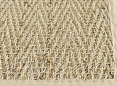 Safavieh Natural Fiber Collection NF115A Herringbone Natural and Beige Seagrass Area Rug (5' x 8')