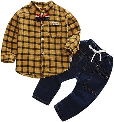 Plaid Camiseta zyShang Camisa a Cuadros de los niños Niño pequeño Niños Bebé niña Tops + Conjunto de Ropa de Pantalones de Mezclilla (Amarillo, 100): Amazon.es: Ropa y accesorios