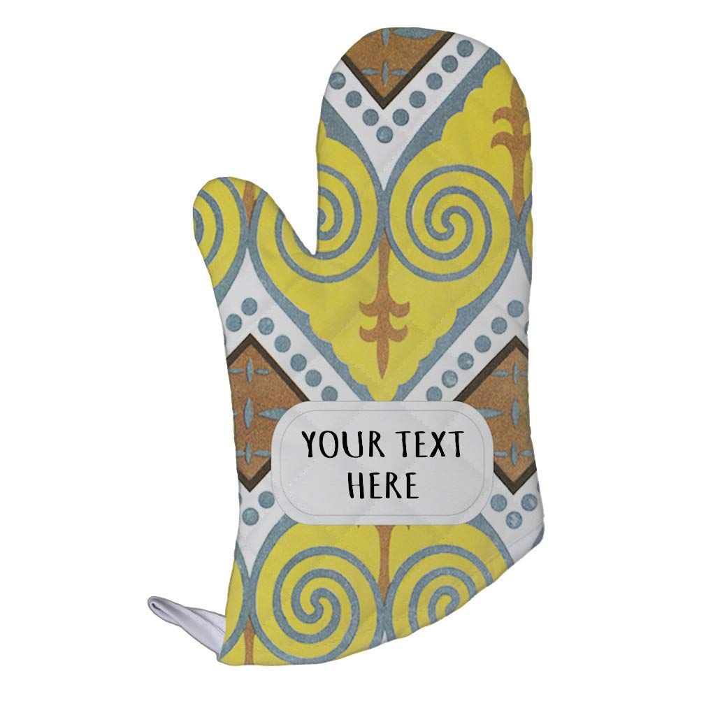 Style In Print Polyester Oven Mitt Custom Egyptian Design 8 Pattern Yellow Brown Adults Kitchen Mittens