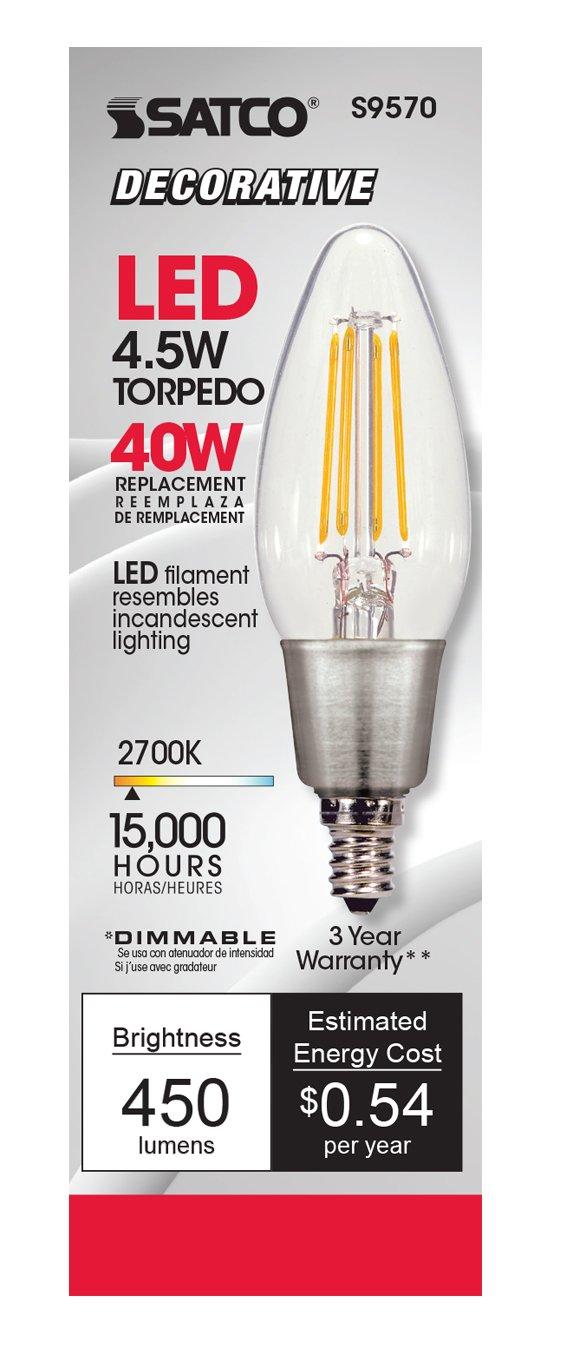 Satco S9570 C11 LED Clear Candelabra Base Light Bulb 4.5W
