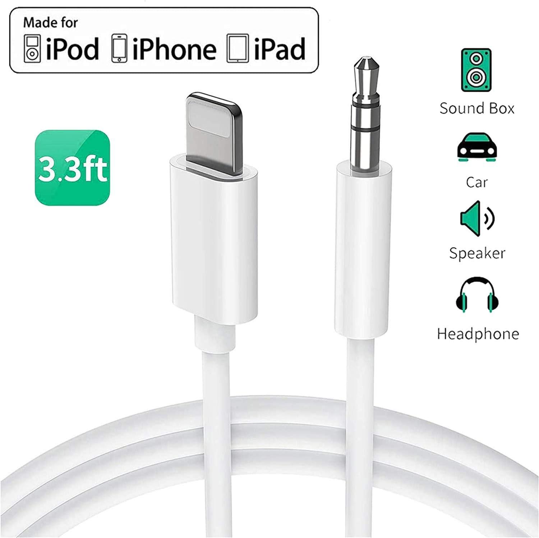 Cable Auxiliar para iPhone 11 Cable Auxiliar para Auto a Jack Adaptador de 3.5mm para iPhone 7Plus//8//X//XS//XR//11 a Radio de Coche//Adaptador de Altavoz//Auriculares Compatible con Todos los iOS