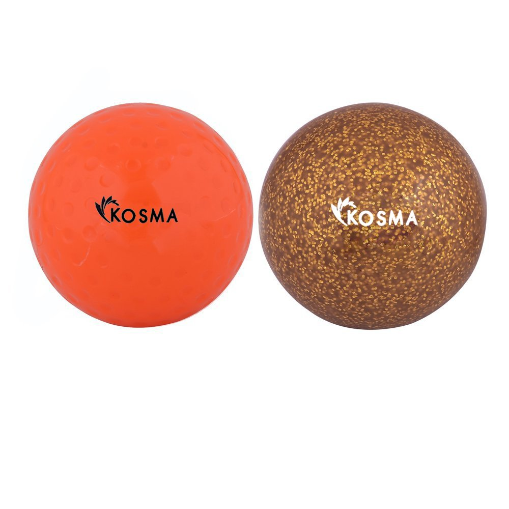 Kosma Ensemble de 2 Balles de Hockey | Sports de plein air Formation pratique en PVC (balle Dimple Orange, Violet Glitter, set de 2) Montstar Global KG-26019