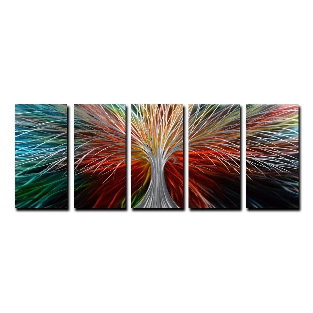 "Yihui Arts Multi-Colored Tree Metal Wall Art, 3D Wall Art for Modern and Contemporary Decor, Decorative Hanging in 5-Panels Measures 24""x 64"", Works for Indoor and Outdoor Settings"