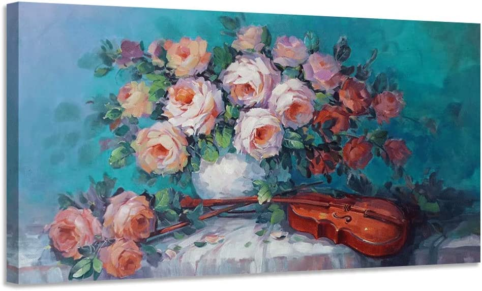 """Canvas Wall Art Rose Pink Flowers Pictures Teal Vintage Colorful Painting Violin Picture Prints Framed Bloosom Florals Artwork for Bathroom Living Room Kitchen Bedroom Office Home Decor -40""""x20"""", One Panel"""