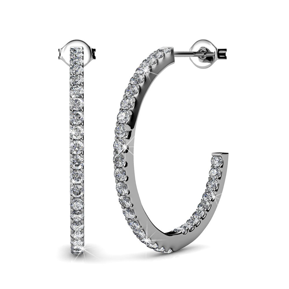 Cate & Chloe Rosalyn Beautiful 18k White Gold Hoop Earrings with Swarovski Crystals, Sparkling Silver Slinder Hoops Earring Set w/Solitaire Diamond Crystals Wedding Anniversary Jewelry - MSRP 119
