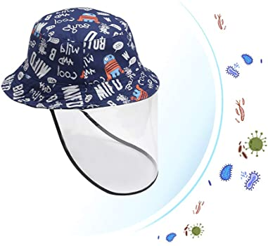 Happy Cherry Kids Full Cover Face Shield Protective Sun Hat with Anti-Saliva Face Cover Mask Outdoor Safety Sun Hat Blue Robot