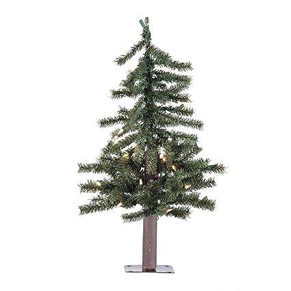 vickerman pre lit natural alpine tree with 35 clear mini lights 2 feet