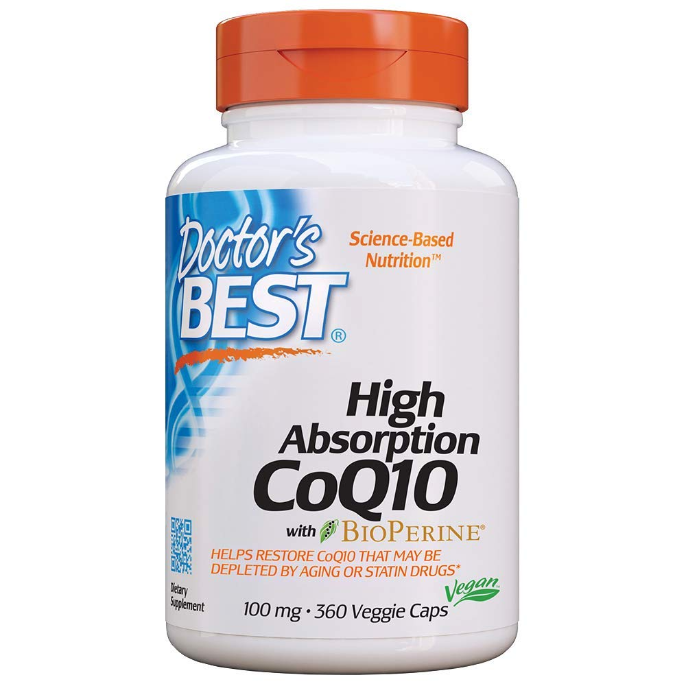 Doctor's Best High Absorption CoQ10 with BioPerine, Gluten Free, Naturally Fermented, Vegan, Heart Health & Energy Production, 100 mg 360 Veggie Caps by Doctor's Best