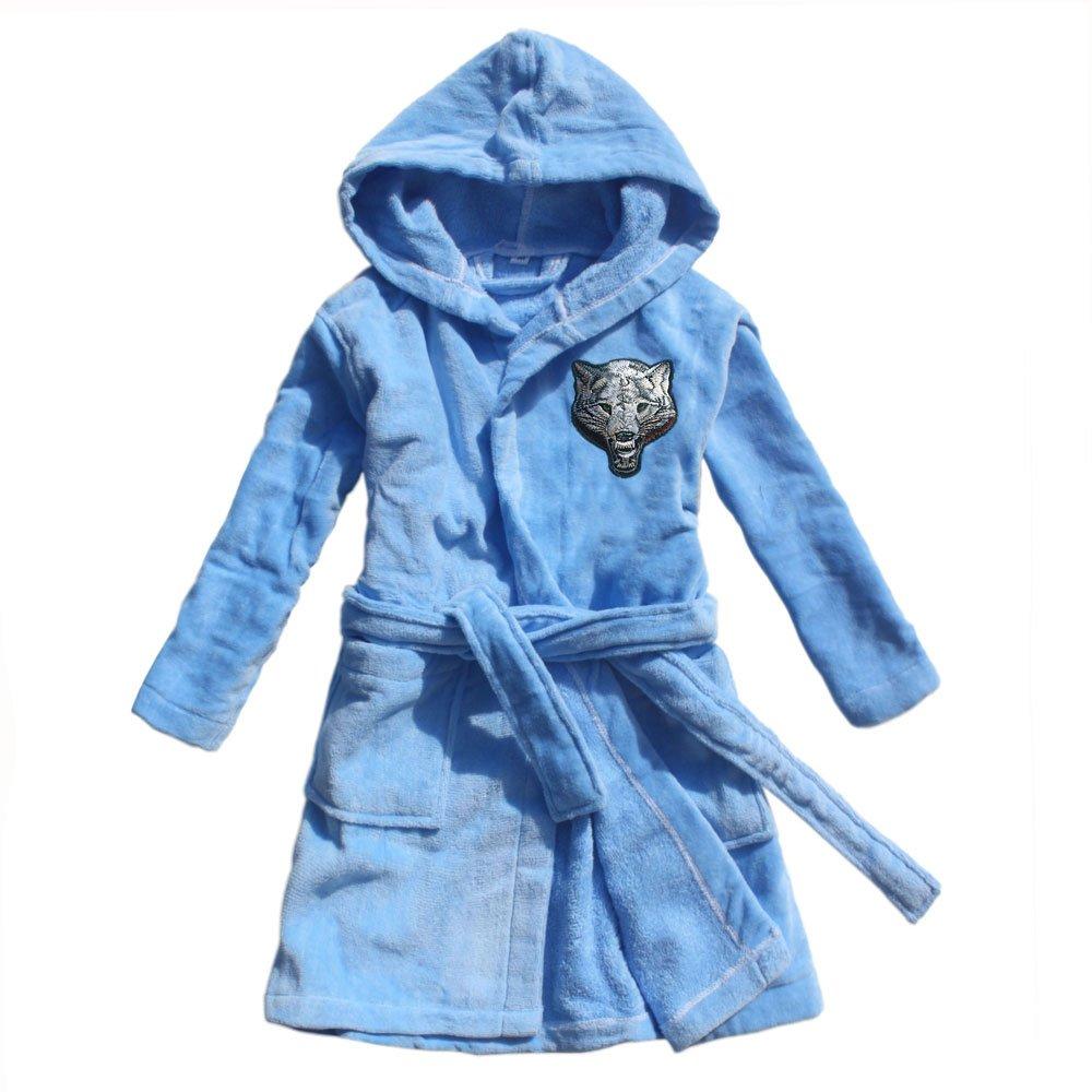 FEETOO 2018 New boy Bathrobe 100% Cotton Wolf Embroidery Children's Bathrobe Blue Towel Cloth Robe Children's Nightgown