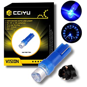 cciyu 10 Pack T5 Instrument Cluster Panel Gauge Dash LED Bulb light 17 57 37 73 74 Blue +10x Twist Sockets 17 37 70 Instrument Panel Cluster Plug Lamp Dash Light Bulb T5