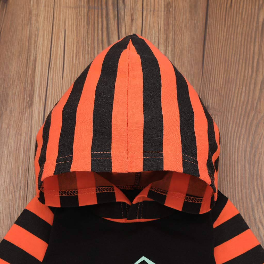 Newborn Baby Boy Girl Hooded Halloween Pumpkin Striped Romper Jumpsuit Outfits Best Gift for Your Baby Halloween Costumes for Boys Girls