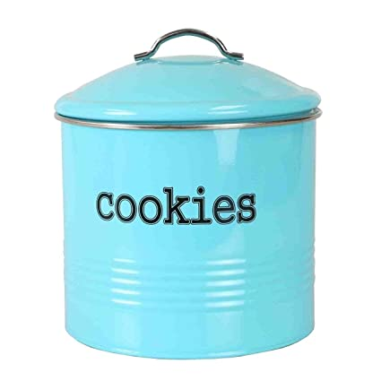 3088bb862 Home Basics Tin Kitchen Food Storage Organization Canister Collection  (Cookie Jar with Cover, Turquoise)