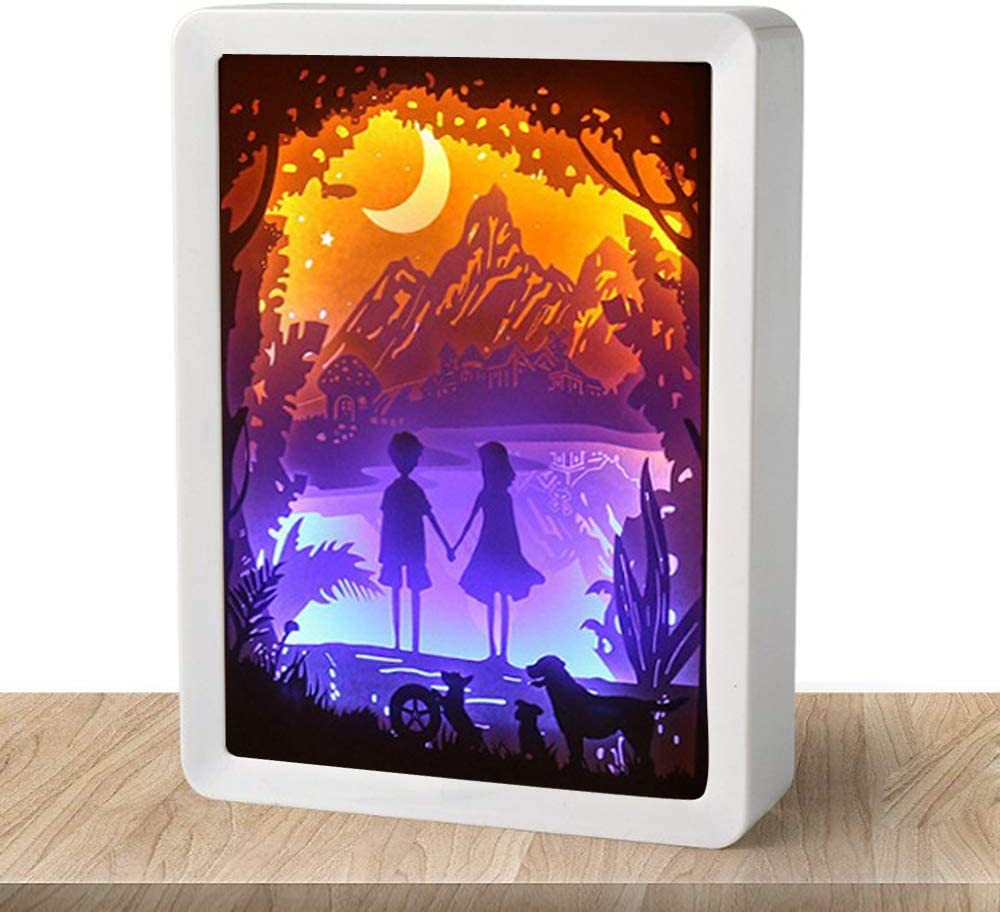 WOMHOPE Valentine's Day Gift 3D Paper Carving Night Light Shadow Box Paper Sculptures Frame Table Lamps Decorative Mood Light Desktop Lamp (Hand in Hand (White)